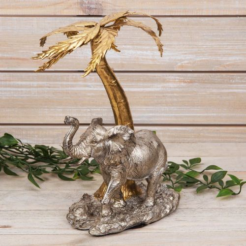Elephant and Palm Tree Ornament Sculpture Figurine